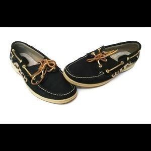 Black & Leopard Sperry Boat Shoes